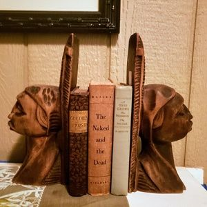 Primitive, antique, hand-carved Jamaican bookends